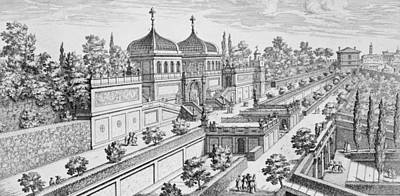 Garden Of The Duke Of Parma On The Palatine Hill Print by Giovanni Battista Falda