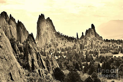 Garden Of The Gods In Sepia Print by Ronnie Glover