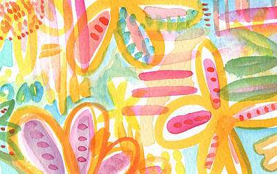Garden Party- Abstract Flower Painting Print by Linda Woods