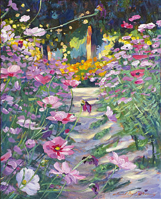 Bed Painting - Garden Path Of Cosmos by David Lloyd Glover