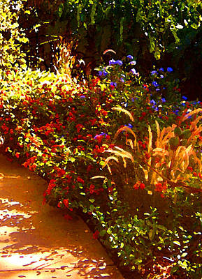 Purple Flowers Digital Art - Garden Pathway by Amy Vangsgard