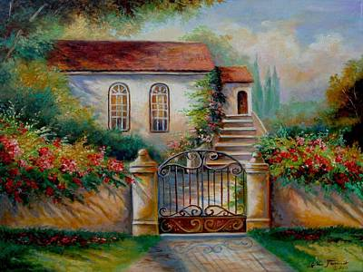 Garden Scene With Villa And Gate Print by Regina Femrite
