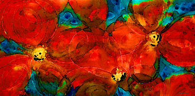 Luminous Digital Art - Garden Spirits - Vibrant Red Flowers By Sharon Cummings by Sharon Cummings