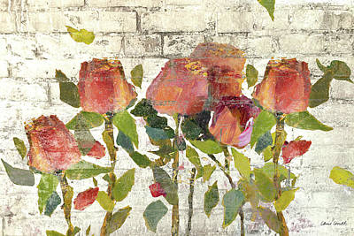 Brick Mixed Media - Garden Stems On Brick I by Lanie Loreth