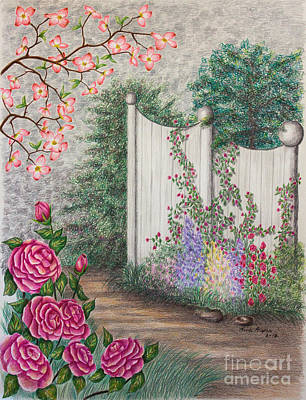 Fence Drawing - Garden Walkway by Lena Auxier