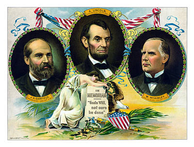 Garfield Lincoln And Mckinley In Memoriam Print by War Is Hell Store