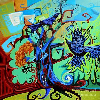 Gargoyle Crows Original by Genevieve Esson