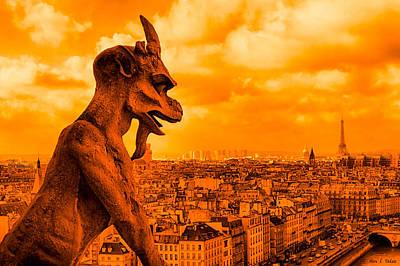 Paris Photograph - Gargoyle Guardian Of Paris by Mark E Tisdale