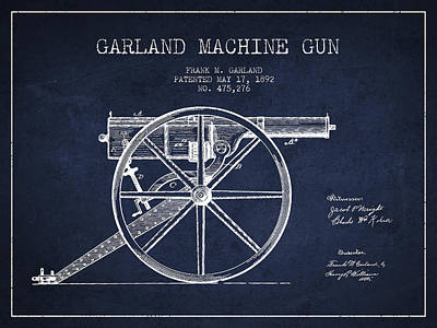 Garland Machine Gun Patent Drawing From 1892 - Navy Blue Print by Aged Pixel