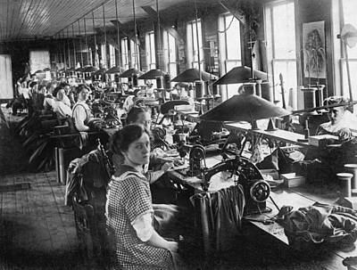 Factory Photograph - Garment Factory Workers by Underwood Archives
