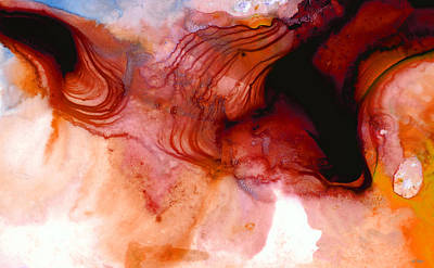 Abstract Movement Painting - Garnet Sea - Abstract Art By Sharon Cummings by Sharon Cummings