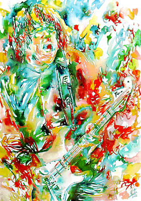 Gary Moore Playing The Guitar Watercolor Portrait Print by Fabrizio Cassetta