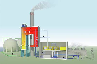 Gas-fired Power Station Print by Science Photo Library