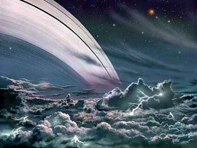 Gas Giant Planet's Rings Print by David A. Hardy