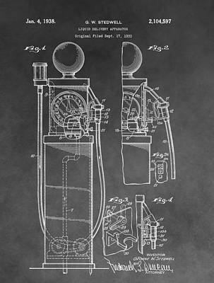 Antique Automobiles Drawing - Gas Pump Patent by Dan Sproul
