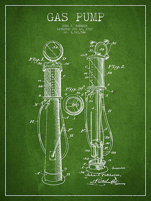 Gas Pump Patent Drawing From 1930 - Green Print by Aged Pixel