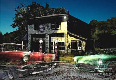 Paranormal Digital Art - Gas Pumps by Tom Straub