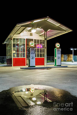 All-metal Photograph - Gas Station Reflection by James Eddy