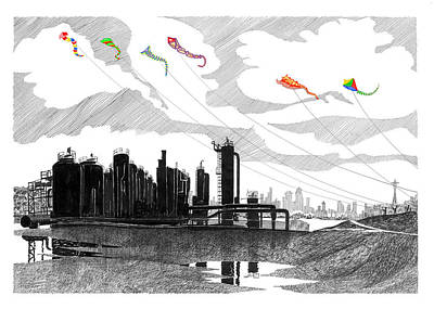 Seattle Drawing - Gas Works Park Seattle Kite Flying  by Jack Pumphrey