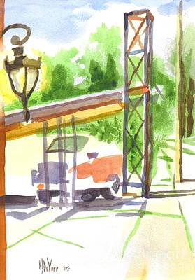 Bright Watercolor Portrait Bright Watercolor Painting - Gaslight At The Truck Stop by Kip DeVore