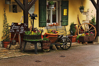 Wine Cart Photograph - Gast Haus Display In Rothenburg Germany by Greg Matchick