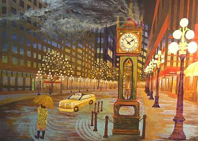 Vancouver Mixed Media - Gastown 2am by Bob Craig