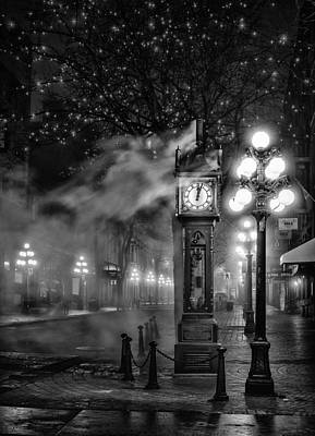 Night Lamp Photograph - Gastown Steam Clock by Alexis Birkill