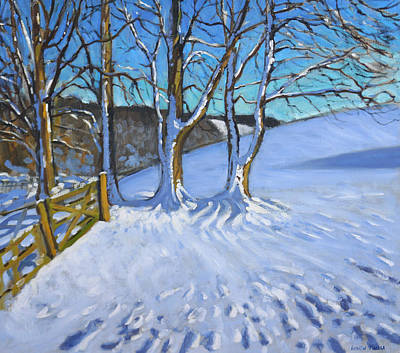 Winter Fun Painting - Gate And Trees Winter Dam Lane Derbyshire by Andrew Macara