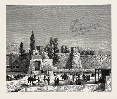 Gate Of The Fort Of Tangy-shahr, Five Miles From Kashgar Print by English School