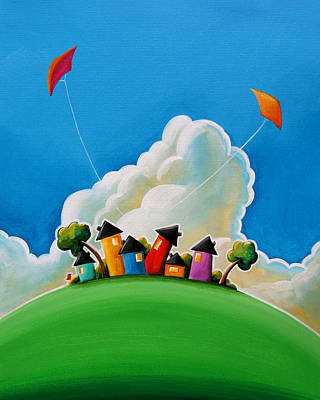 Kites Painting - Gather Round by Cindy Thornton