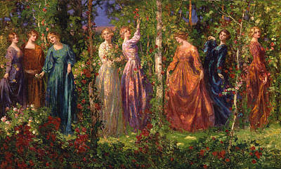 Rosebud Painting - Gather Ye Rosebuds While Ye May by Celestial Images