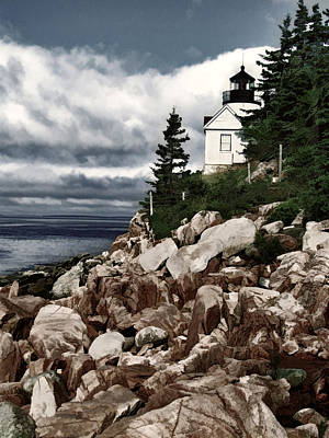 Maine Lighthouses Painting - Gathering Coastal Storm In Maine by Elaine Plesser