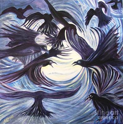 Carolinestreet Painting - Gathering Of The Ravens by Caroline Street