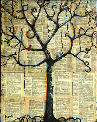 Bluebird Mixed Media - Gathering Place Winter Tree by Blenda Studio