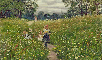 Meadow Painting - Gathering Wild Flowers  by Philip Richard Morris