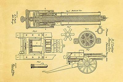 Gatling Machine Gun Patent Art 1862 Print by Ian Monk