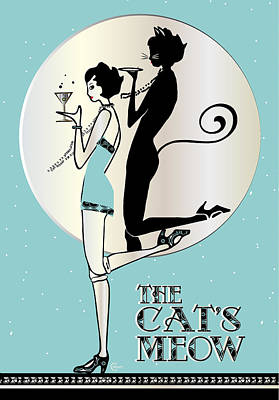 The Cats Meow Day Print by Cecely Bloom