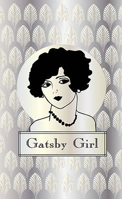 Gatsby Girl In Silver And Pearl Print by Cecely Bloom