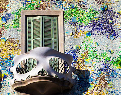 Gaudis Skull Balcony And Mosaic Walls Print by Rene Triay Photography