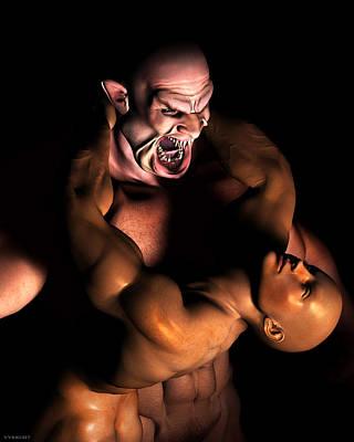 Nosferatu Digital Art - Gay Vampire Art By Vykkurt Queer Lgbt Dracula Nosferatu Naked Male Halloween Skinhead Monster by    Vykkurt