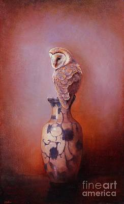 Raptor Painting - Gazing - Barn Owl by Lori  McNee