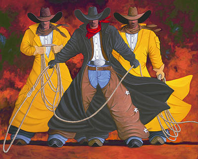 Cowgirls Painting - Good Bad And Ugly by Lance Headlee