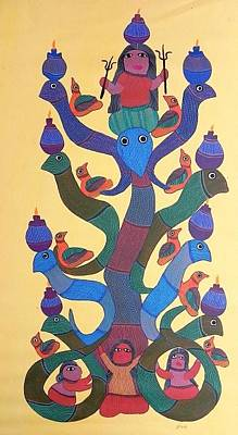 Gond Tribal Art Painting - Gdb 01 by Durga Bai