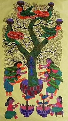Gond Tribal Art Painting - Gdb 03 by Durga Bai