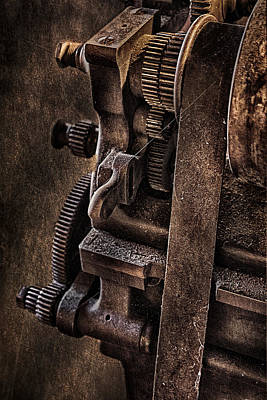 Building Factory Work Vintage Photograph - Gears And Pulley by Susan Candelario
