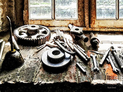 Industrial Photograph - Gears And Wrenches In Machine Shop by Susan Savad