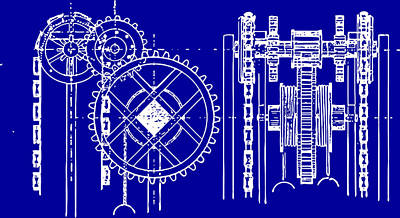 Gears Blueprint Print by