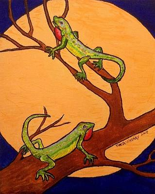 Newts Painting - Geckos In The Moonlight by Sherry Heller