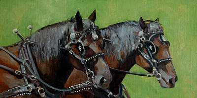 Farm Team Painting - Gee And Haw by Pattie Wall