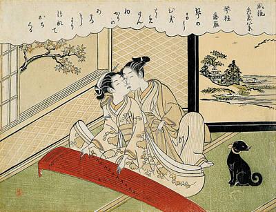 Suzuki Harunobu Drawing - Geese Descending On The Koto Bridges by Suzuki Harunobu